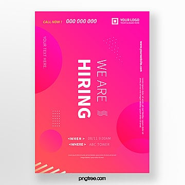 simple high saturated color recruitment poster Template