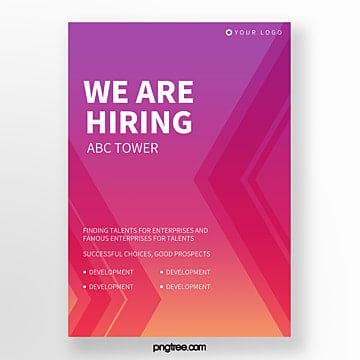 simple high saturated geometric social work recruitment poster Template