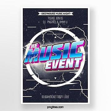 Three dimensional style music theme poster Template