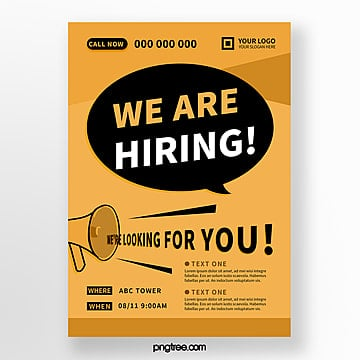 yellow creative hand drawn recruitment poster Template