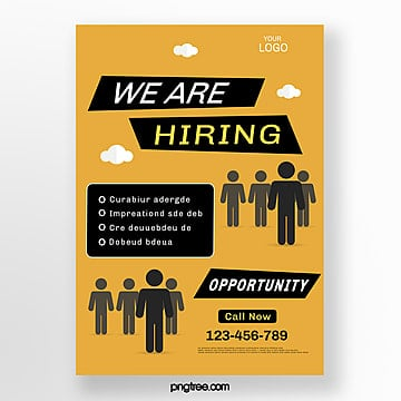 yellow creative vector recruitment poster Template