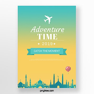 yellow green gradient building travel poster Template