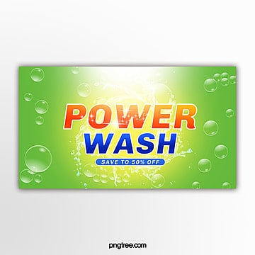 yellow green washing supplies promotional pop up window Template