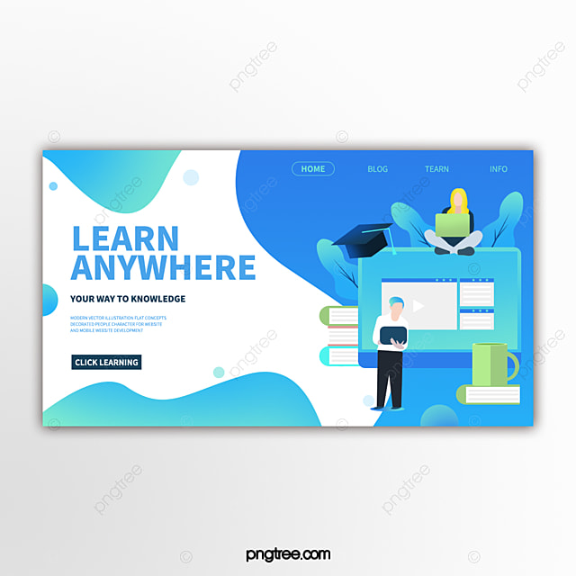 Hand drawn computer education website banner Template for Free