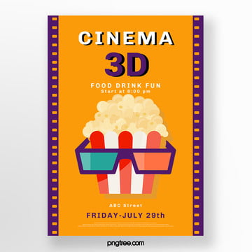 color 3d movie creative poster Template