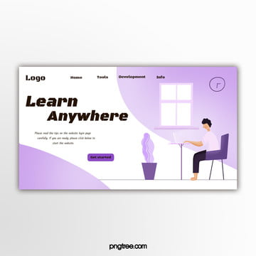 purple simple education website banner Template