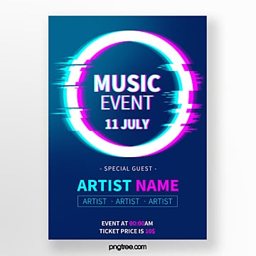 fault round geometry twisted music festival party poster Template