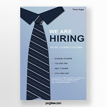 hand drawn workplace tie recruitment poster Template