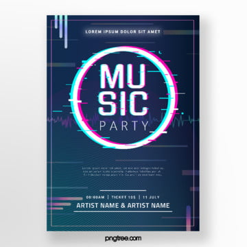 original black music festival fault style event poster Template