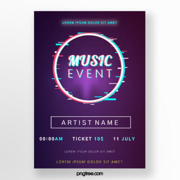original purple music festival fault style event poster Template