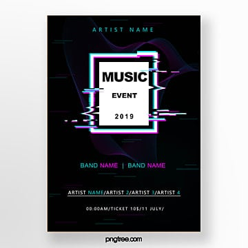 simple sound wave festival poster Template