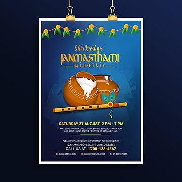 shri krishna janmasthami poster Template