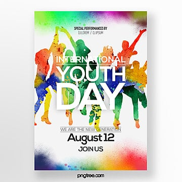 fashion color gouache style international youth festival poster Template