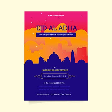 beautifull sunset on eid al adha flyer templates Template