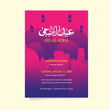 papercut illustration on eid al adha flyer design Template