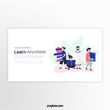 white reading character education website banner Template