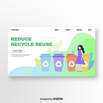 green portrait illustration public welfare environment website banner Template