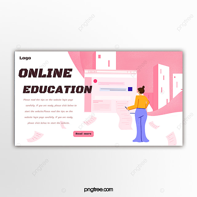 Pink Online Education Website Banner Template for Free