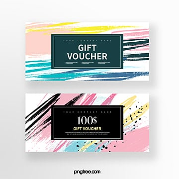 abstract watercolor brush gift voucher Template