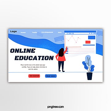 blue flat wind education website banner Template