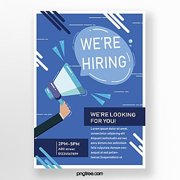blue hand drawn recruitment poster Template