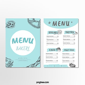 blue minimalist bakery shop menu Template