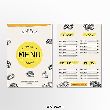 color simple baking shop menu Template