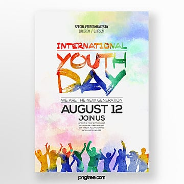 fashion simple watercolor style youth festival theme poster Template
