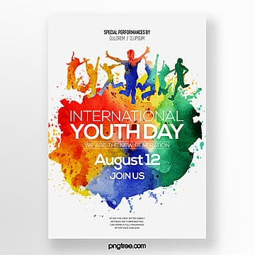 fashion trend color watercolor style international youth festival poster Template
