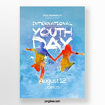 fresh and fashionable simple international youth festival theme festival poster Template