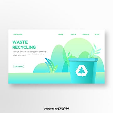 green gradient fresh environmental theme homepage Template