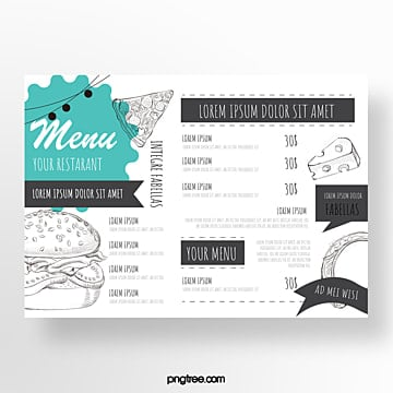 hand drawn commercial american restaurant menu Template