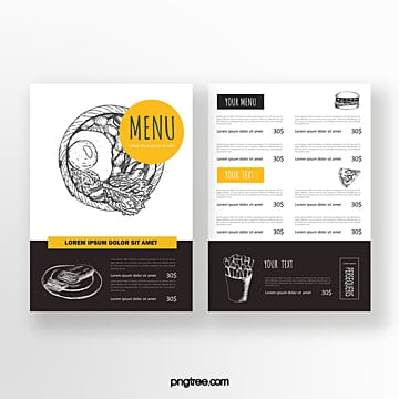 hand drawn commercial double sided restaurant food menu Template