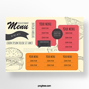 hand drawn commercial fast food menu Template