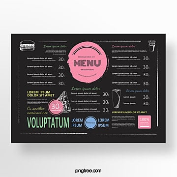 hand drawn commercial restaurant food menu Template