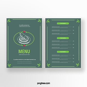 hand drawn style commercial sausage green background double sided restaurant menu Template