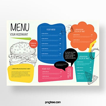 hand painted commercial color western restaurant menu Template