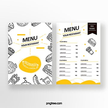 hand painted commercial minimalist double sided fast food menu Template