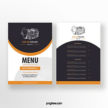 hand painted commercial orange line drawing dishes double sided western restaurant menu Template