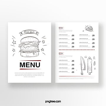 hand painted red and black color line drawing food double sided western restaurant menu Template