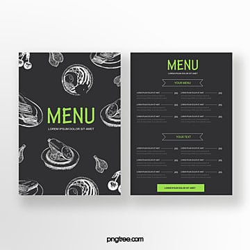 hand painted style commercial green line drawing dishes double sided western restaurant menu Template