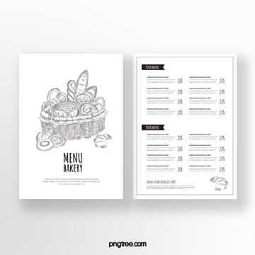 hand painted style commercial line drawing bread double sided baking shop menu Template
