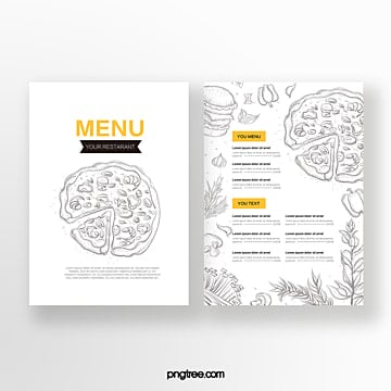 hand painted yellow line drawing pizza double sided western restaurant menu Template