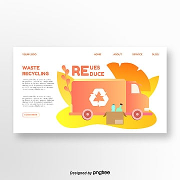 orange gradient creative garbage truck illustration homepage Template