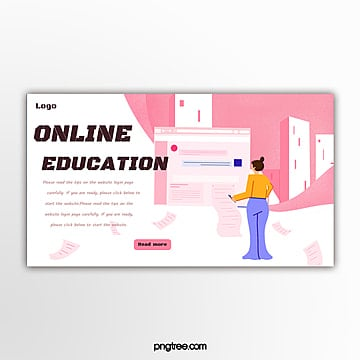 pink online education website banner Template
