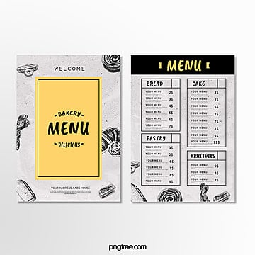 simple bakery menu Template