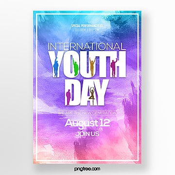 watercolor style international youth festival theme festival poster Template