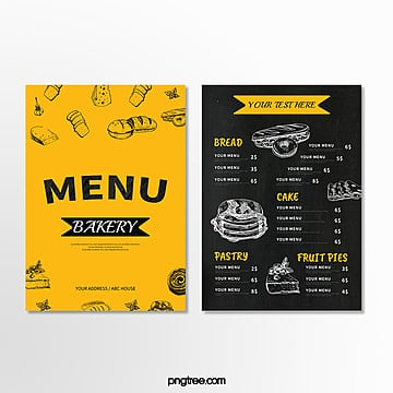 yellow baking shop menu Template