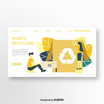 yellow garbage recycling portrait homepage Template