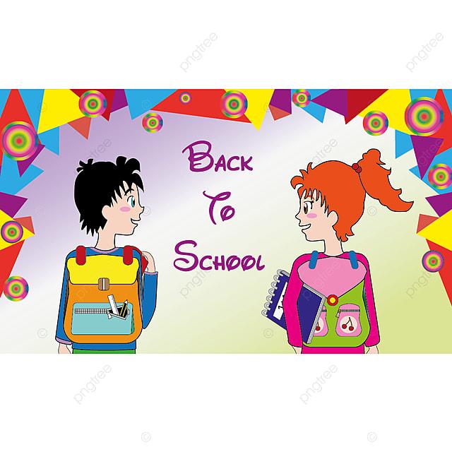 De Volta A Escola Modelo Colorido Com Menino Dos Desenhos Animados